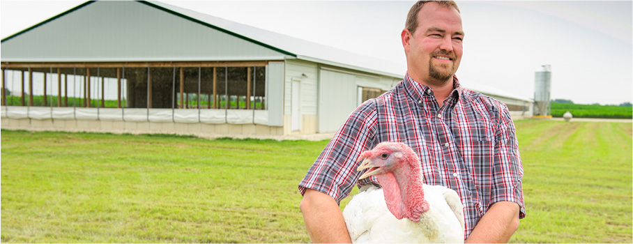 Man holding a turkey on a farm.